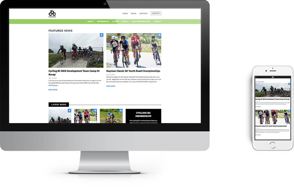 Cycling BC site on different devices